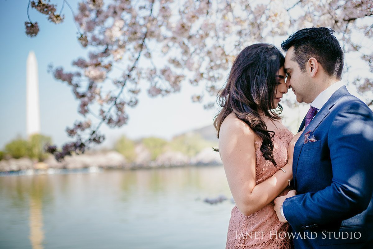 engagement photos at the cherry blossom festival