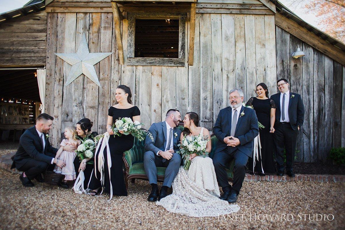 Wedding party photo at West Milford Farm