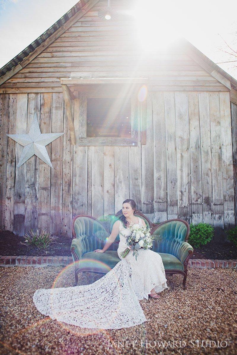 bridal portrait with barn at West Milford Farm