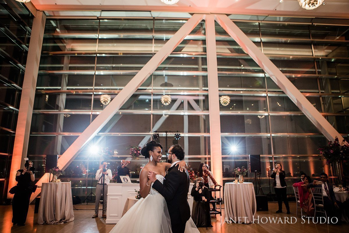 wedding first dance at Clinton Library