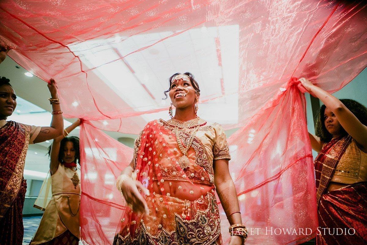 Indian wedding bride entrance