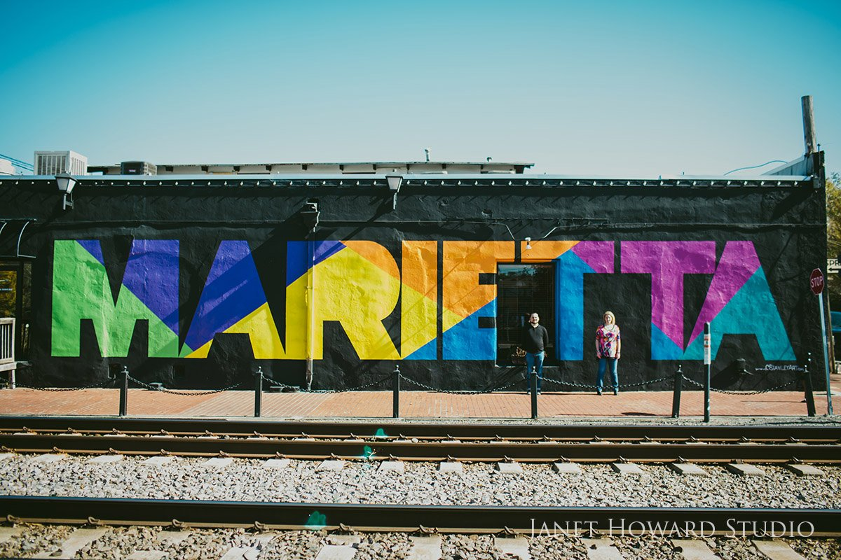 Marietta Mural Engagement Photo Shoot