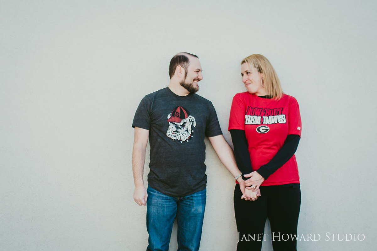 Atlanta Engagement Photo Shoot Sporting Georgia Bulldogs T-Shirts