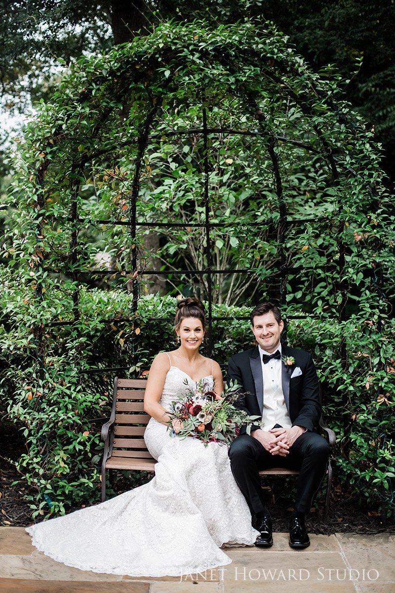 Garden Groom and Bride Wedding Portraits at The Estate, Buckhead Georgia
