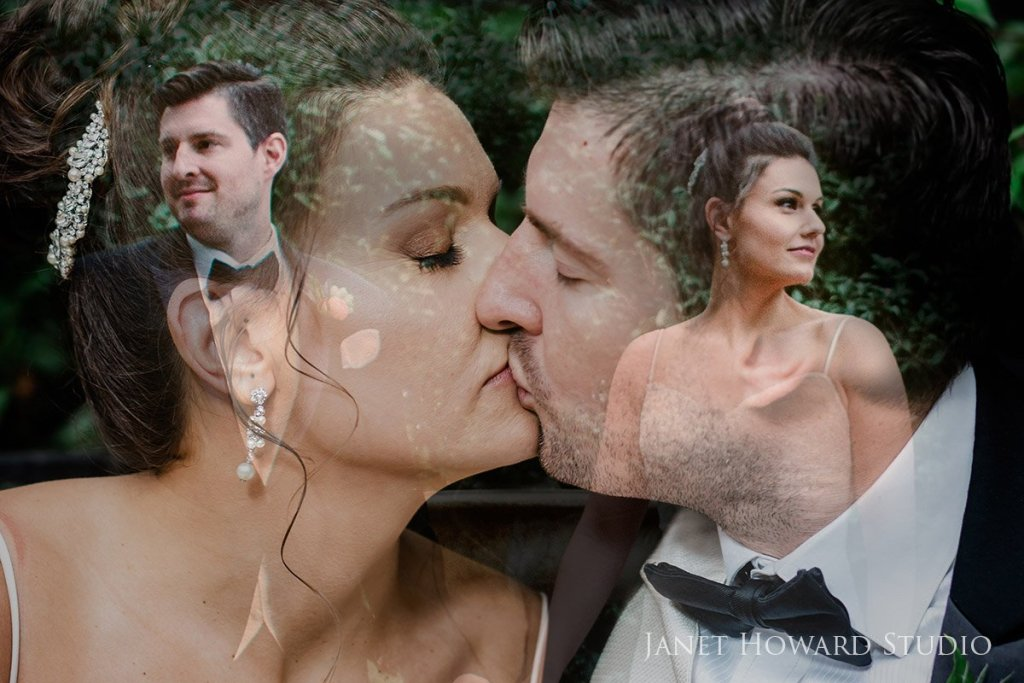bride and groom double exposure