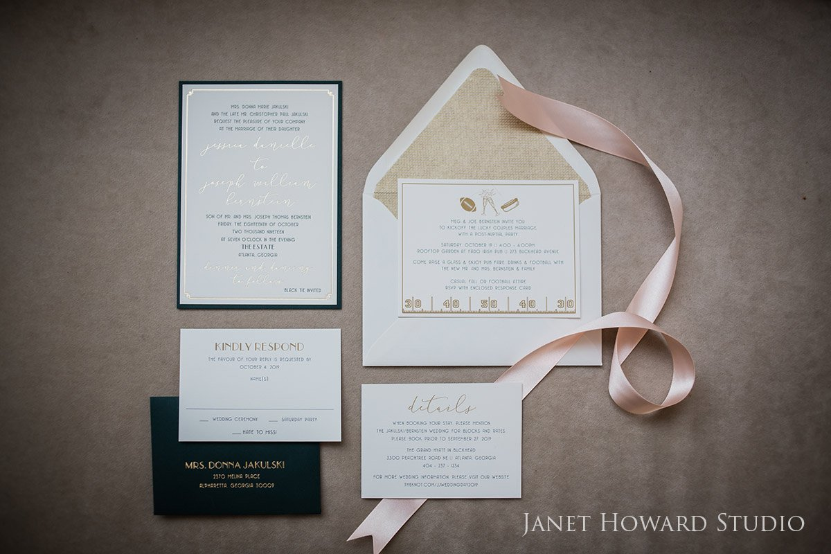 Pink, Black and Gold Wedding Invitations