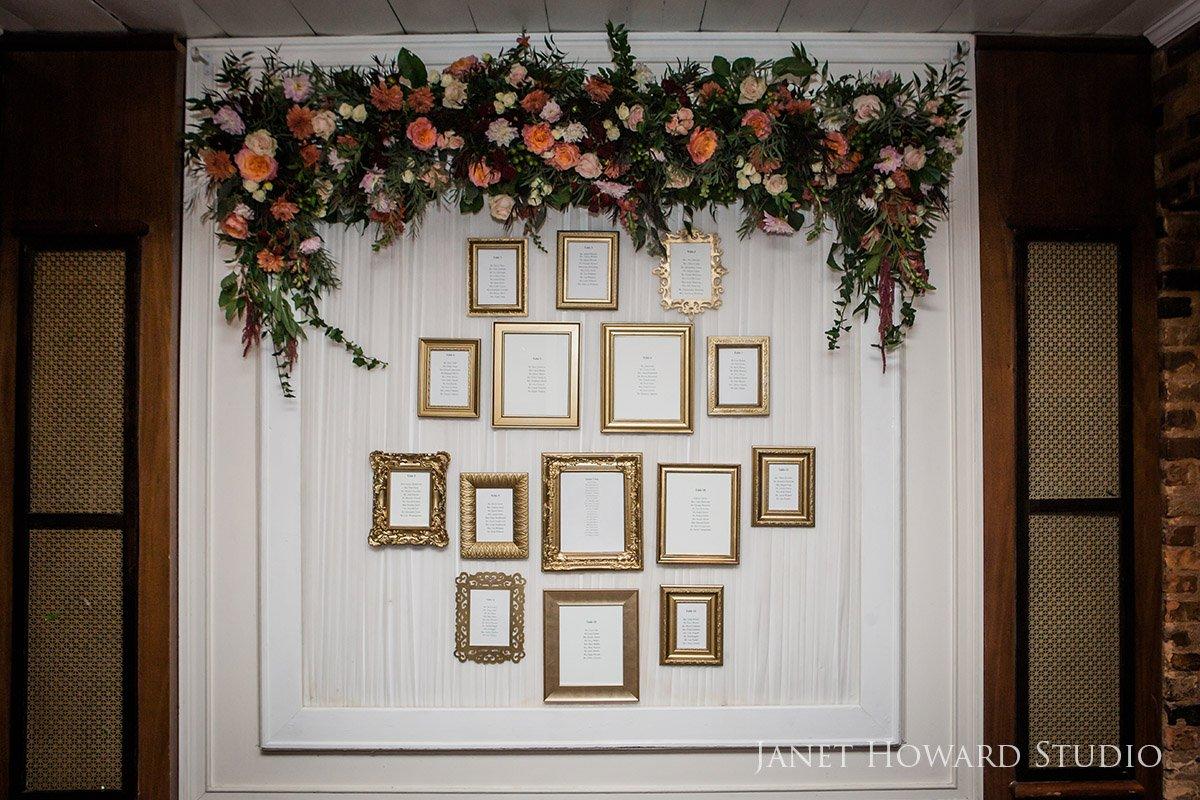 Gold Framed Wedding Seating Chart