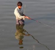 Fishing near U Bein Bridge Mandalay