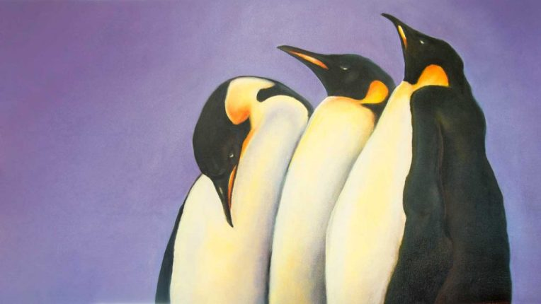 Oil Painting of three emperor penguins