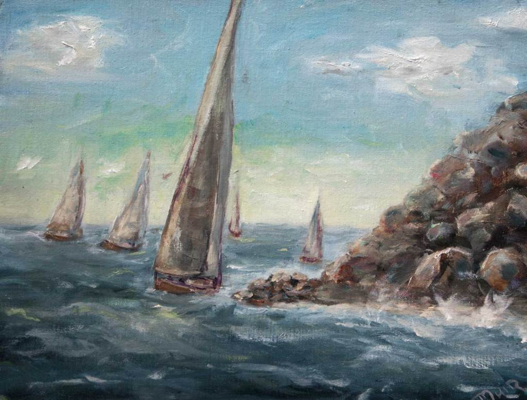 Oil Painting of a sailboat race