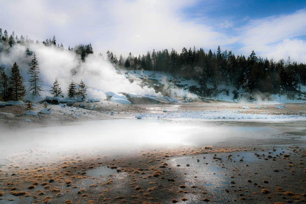 Norris Geyser Basin in winter