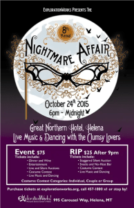 Event poster design and digital illustration for annual Halloween non-profit fundraising event.