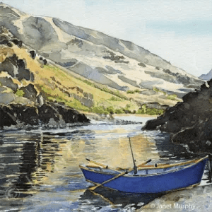 Blue Drift Boat watercolor ©Janet-Murphy (private collection). Greeting Cards available.
