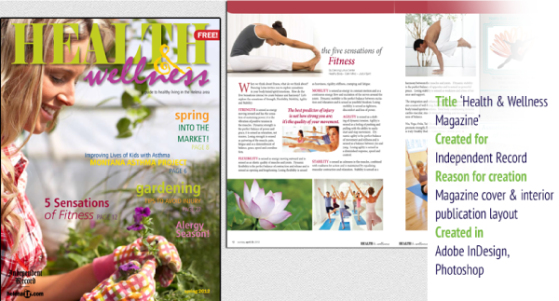 Health magazine cover, article design and photo editing.