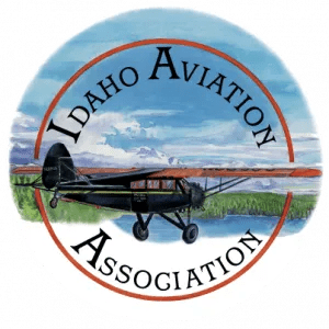 Poster title and logo (watercolor) of Idaho airstrips.
