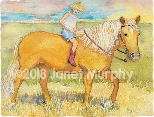 "critterstory illustration ""niki & her new palomino horse"""