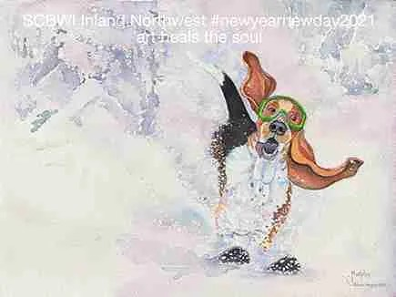 """""""Powder Hound"""" Watercolor Illustration for Inland Northwest SCBWI Online Share A Story Contest. ©Janet Murphy"""