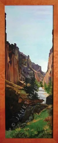 Acrylic painting of Bruneauriver canyon (commission sold).