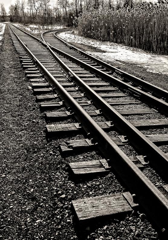 B+W, train tracks, landscape, Orangeville, Ontario