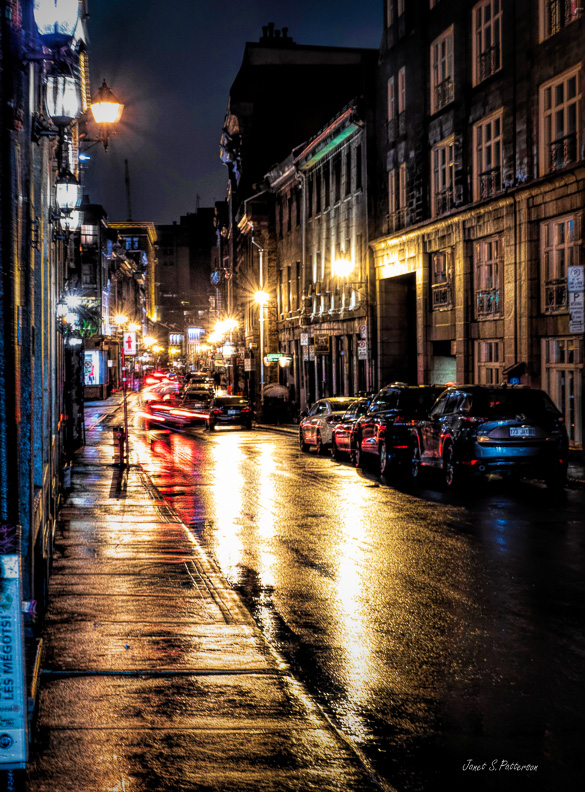 Cityscape, night, Rue St. Paul Ouest, rain, lights, reflections