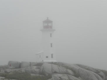 The lighthouse at Peggy's Cove, Nova Scotia, in the fog