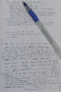pen and notes