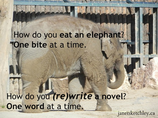 Photo of an elephant, with the text: How do you eat an elephant? One bite at a time. How do you (re)write a novel? One word at a time.