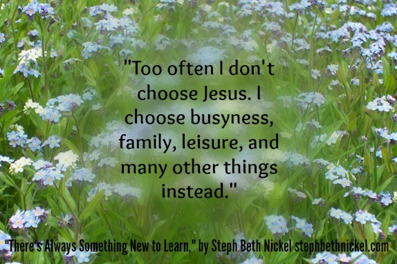 """Too often I don't choose Jesus. I choose busyness, family, leisure, and many other things instead."""