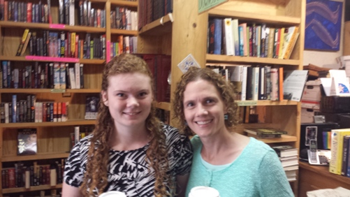 Jennifer Slattery and her daughter, in the used book store
