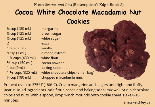 Recipe: Cocoa White Chocolate Macadamia Nut Cookies (from Secrets and Lies, Redemption's Edge Book 2)