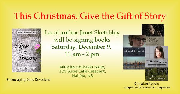 Book signing Dec 9, 2017 at Miracles Christian Store, Bayers Lake, Halifax, NS