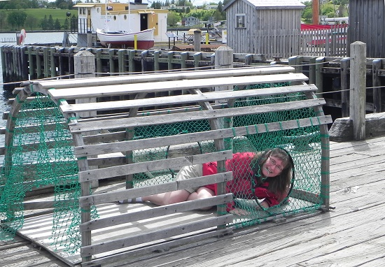 Janet Sketchley, inside a giant lobster trap