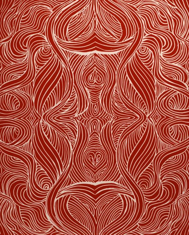 Red Swirls Linocut by Janet Towbin