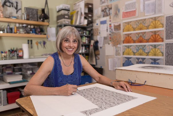 Janet Towbin in her studio drawing.