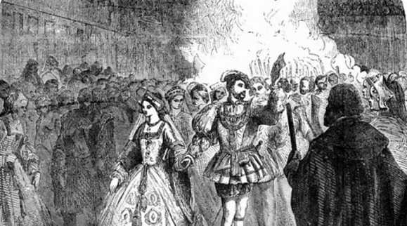 Anne and Henry walking through a crowd