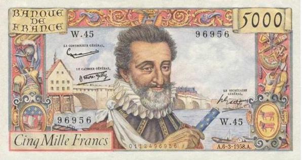 French banknote featuring Le Bon Roi Henri