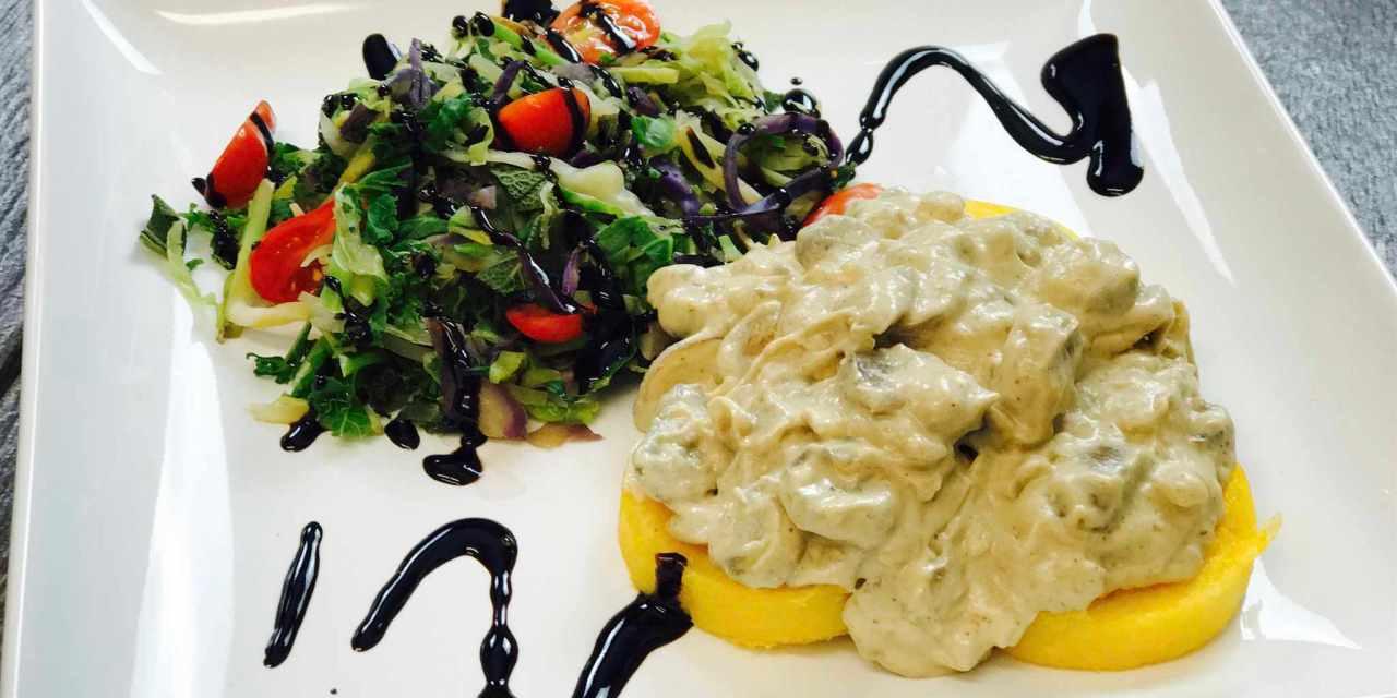 Creamy Mushroom Polenta with Cruciferous Crunch Vegetables with Balsamic Glaze