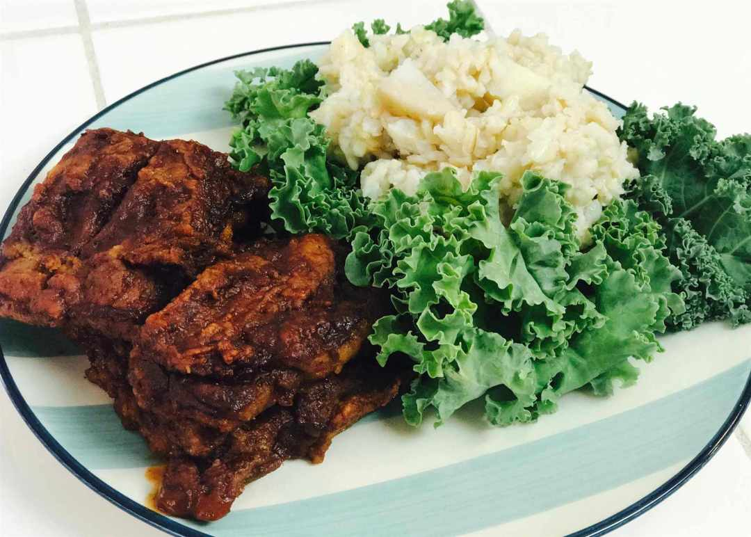LBL Paris Connolly plated meal with kale & rice *
