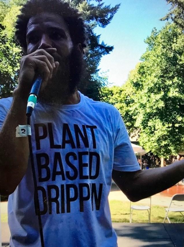 VegOut vegan fesitval Portland Grey Plant Based Drippin rap artist