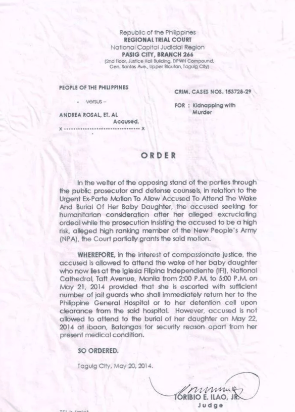 Pasig City RTC ruling on Andrea Rosal