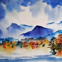Autumn Morning, Derwentwater Watercolour