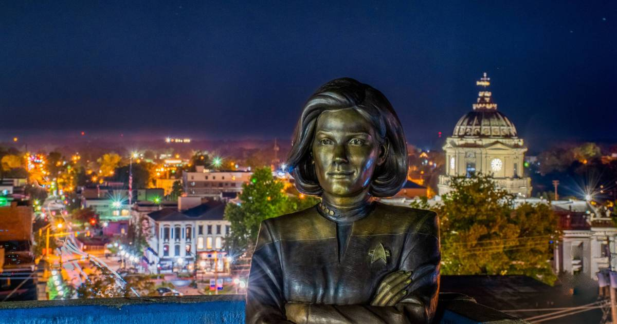 The Janeway Statue overlooks downtown Bloomington, Indiana