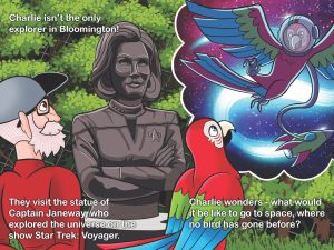 Cartoon version of an older man and the Captain Janeway statue with a multicolored bird who is having a dream about birds in space