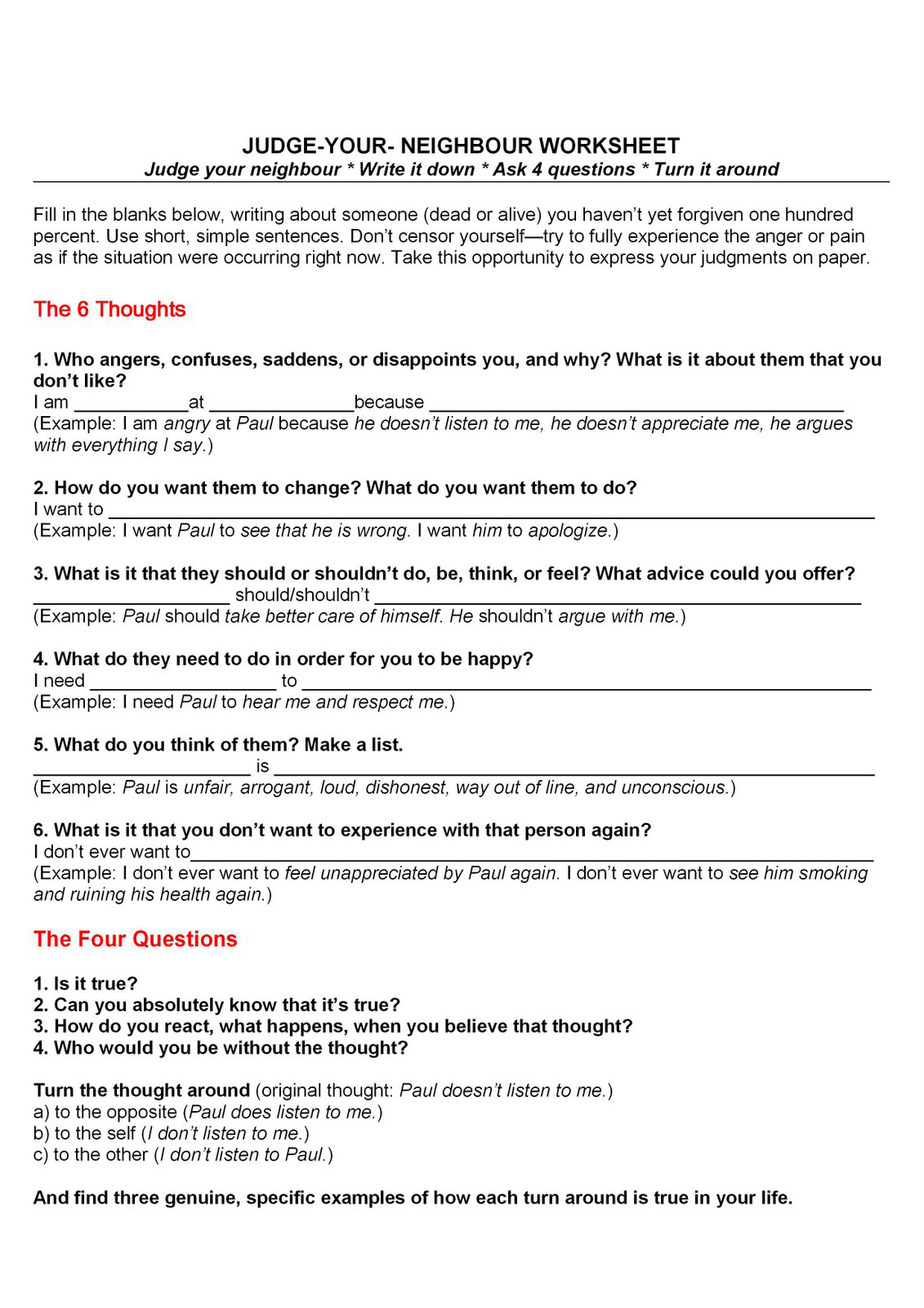 Therapy Worksheets For Guilt