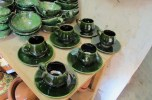 Finished tableware in the gallery.