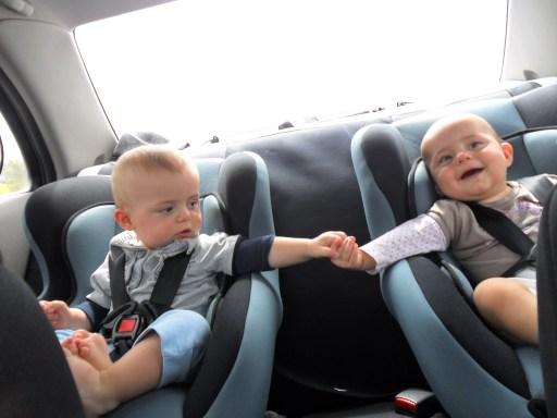 Zach & Lilly in Pop & Nans car