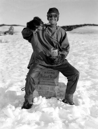 H,G Ponting, Captain Scott+s Antarctic Expedition 1910 - 1912, 9th January, 1912, An expedition team member enjoying his can of Heinz baked beans (Photo by Popperfoto/Getty Images)