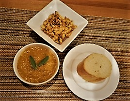 Roasted Pumpkin-butternut Squash Soup with sides