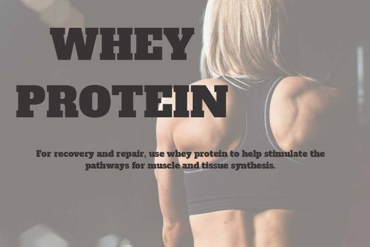 whey protein graphic featuring well-defined upper back of fit woman