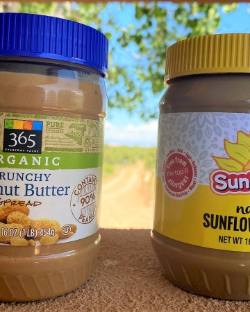 peanut butter and sun butter side by side